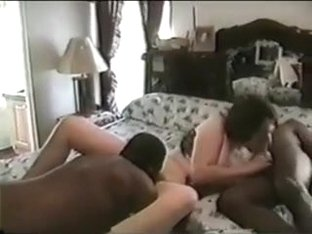 Shy Wife in Interracial Darksome Gang Group-Sex Sex