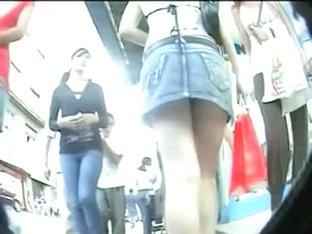 Two bombshells captured by an upskirt cam