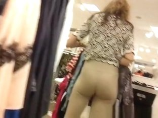 Store worker wearing tight pants
