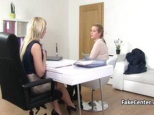 Lesbian BBW fucking on casting