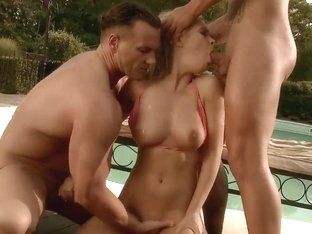 Poolside double penetration with Colette W.