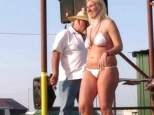 wild midwest biker chicks stripping down in a biker rally contest