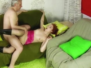 German redhead Teen sucking grandpa