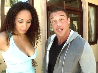 Busty black princess Serena Ali sucks her dude's cock while outdoors
