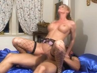 British maid receives drilled on the ottoman in fishnets