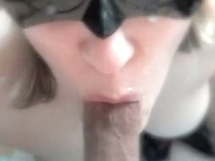 Golden-Haired hottie sucking my ding-dong and eats all the cum
