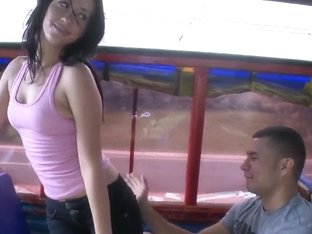 Dark haired Angie gets seduced in the public transportation