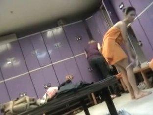 Three half nude amateurs got on dressing room spy cam