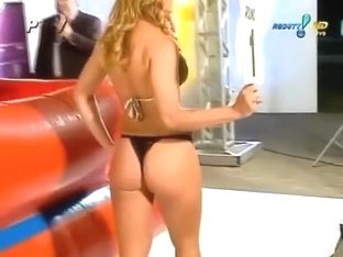 Sexy oil wrestling live on Latin television