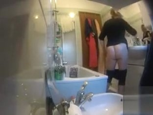 My aunty gets caught on camera washing and shaving her vagina