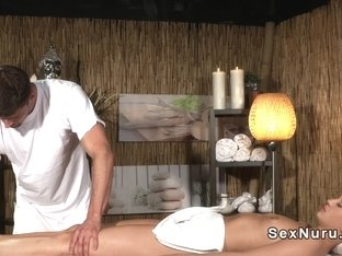 Small tittied blonde gets massage and dick