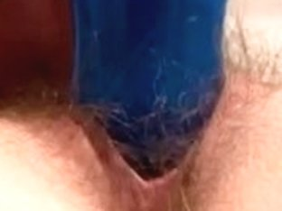 Unshaved Oriental Bade Chloe Pink Robe and Blue Sex Toy