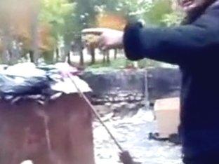 Homeless boy copulates plastic sex doll