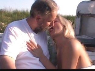 Sexy teen blonde fucks horny old man outdoor
