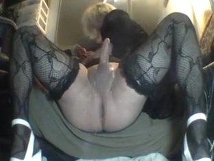 Homemade sloppy Blow Job with crossdressing boyfriend