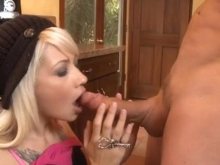 Delicious blonde Coco Velvett visiting neighbour for bone