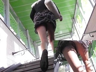 Excellent upskirt on the stairs