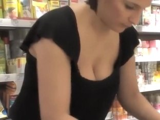 Nurturing breasts get spied in a store