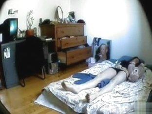 Amateur in black panties masturbates to orgasm