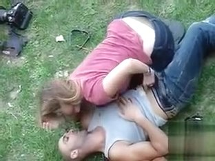 Voyeur handjob video of German lovers in the grass