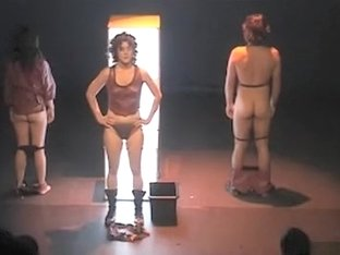 Brunette actress takes off multiple panties during a show