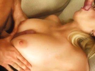 Heavy chested blonde Carmen has hardcore threesome