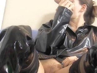 Raincoat Boots Dildo Masturbation