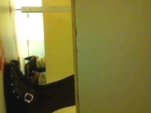 Raunchy voyeur spying on girls sitting on a toilet