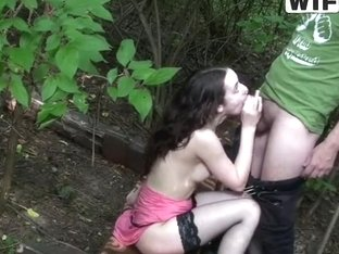 Russian chick Masha gets assfucked in the forest