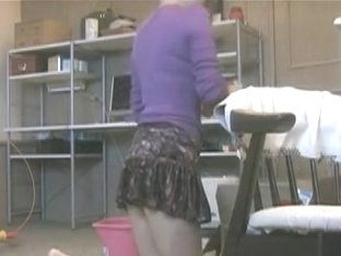 Sexy Japanese girl with elegant butt cleaning the floor