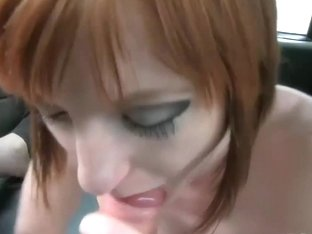 Horny big boobs redhead babe gets banged by the driver