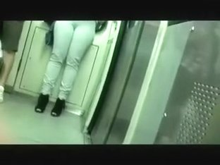The big butt brunette hair hair playgirl in tight jeans in the metro