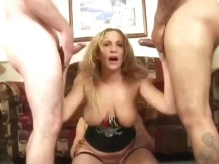 Blonde MILF gangbanged by five dicks