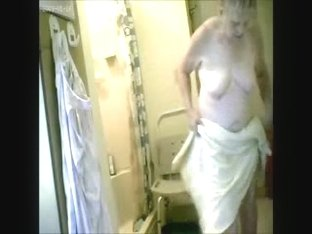 My 74years old granny caught nude after shower. Hidden cam