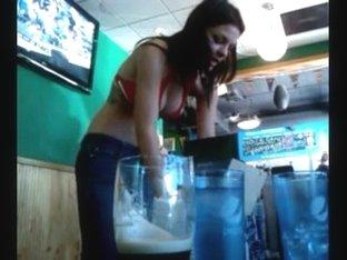 VIP waitress at the sports bar has a nice rack.