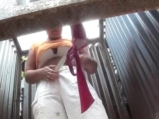 Chubby woman undressing in a cabin