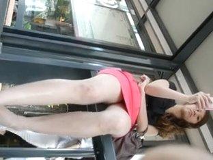 Black panties bus stop upskirt