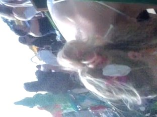 Candid street downblouse from amateur blonde chick
