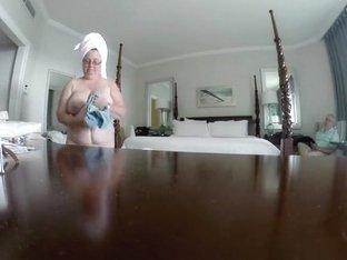 Fat grandma with big tits spied