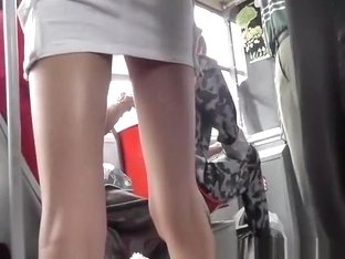 Nice ass and panties bus upskirt