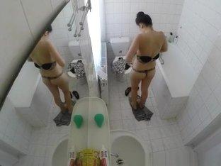 Sexy brunette chick caught by hidden camera