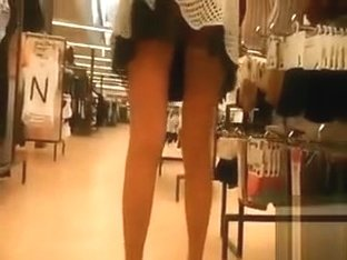 Shopping and pussy flashing with my wife in stockings
