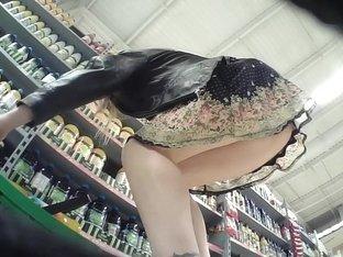 Slim stunner has her sexy purple panties caught on camera