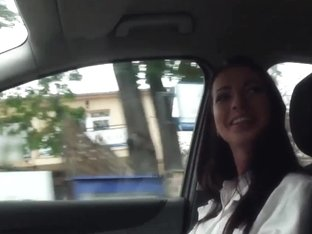 Hitchhiker in stockings fucked in closeup pov