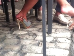 Candid spanish girl dangling in high heels pt2