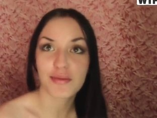 Amateur brunette gagging on a long white pecker