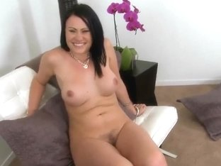 Guy worships the pussy of cute brunette girl