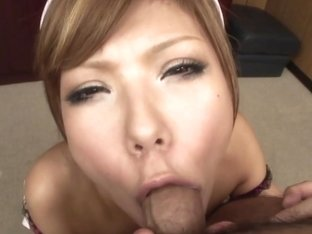 Cum eating sexy nurse Ito Aoba gets a cock to suck on