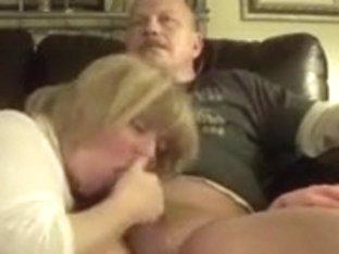 Aged lady engulfing weenie and talking