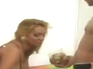 Blonde Tranny Trades Oral With Skinny Dude